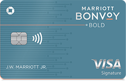 MARRIOTT BONVOY BOLD Credit Card. Contactless icon. VISA Signature.
